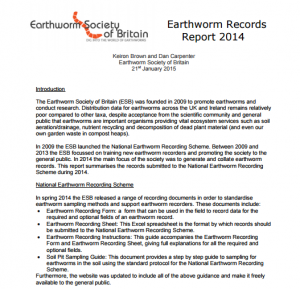 Earthworm records report 2014